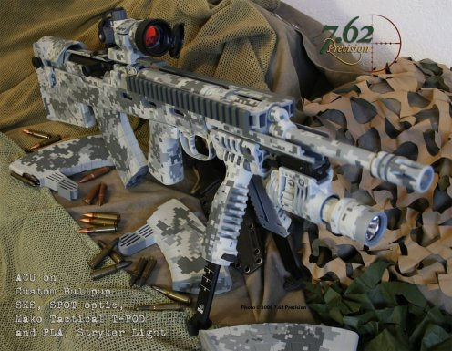 Bullpup SKS, Mako T-Pod, & Stryker Weapon Light and mount in Army ACU digital DuraCoat.