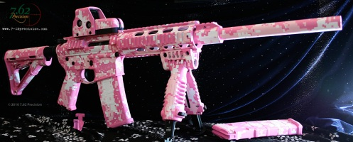 Pink Digital on DPMS AR-15 and EOTech with Magpul furniture and Mako T-POD