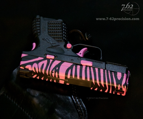 Pink Zebra on Springfield XDS Click here for more photos.