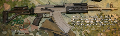 AK-47 in Cavalry Arms OD and Mako Galil folding stock furniture kit