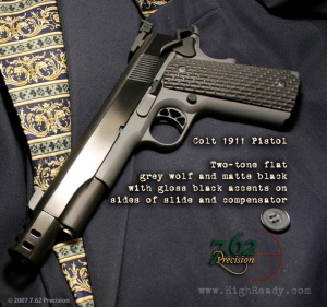 Colt 1911 Black/Grey with Gloss Black in Slide Flats