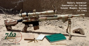 Desert Operator Snakeskin Pattern on Mk12 Sniper Rifle in Iraq