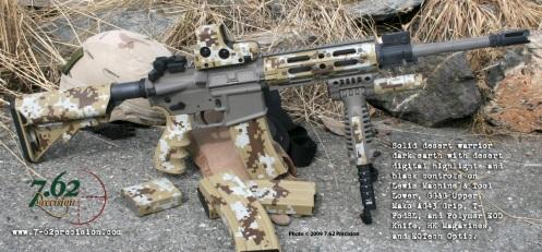 LMT & GG&G rifle in solid Desert Warrior Dark Earth and desert digital on stock, AG-43 grip, HK magazines, T-PodSL, and EOTech.