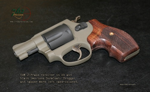 Smith & Wesson J-Frame revolver in flat OD and Black DuraCoat