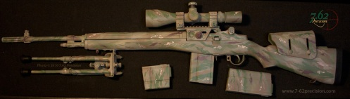 Springfield Armory NM M1A with Sadlak Airborne mount and scope in Chameleonflage