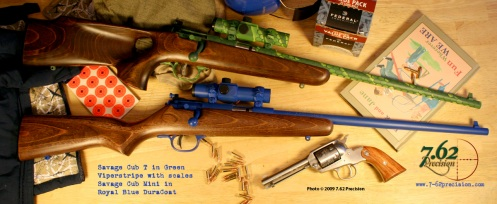 Savage Cub Mini .22 rifle and Millett red dot optic in Royal Blue