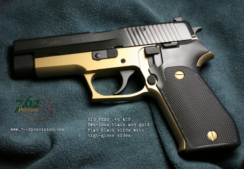 SIG P220 .45 ACP pistol with flat black and gloss black slide and metallic gold frame