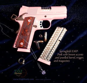 Springfield EMP 1911 Pink with Brown Accents, Jeweled Barrel, Trigger, and Magazines