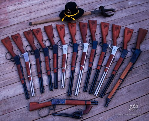 Rossi R92 Carbines in .357 Magnum/.38 Spc. and .45 Colt, Rossi Ranch Hand, 1876 NWMP Carbine, and Cimarron 1873 7th Cavalry (Custer) revolver with 1/40th Cavalry Engraving