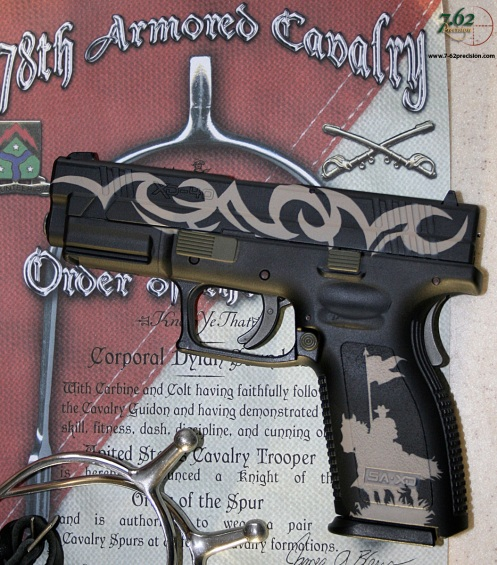 Springfield XD Pistol with Cavalry Theme. Left side: Old Bill with Guidon.