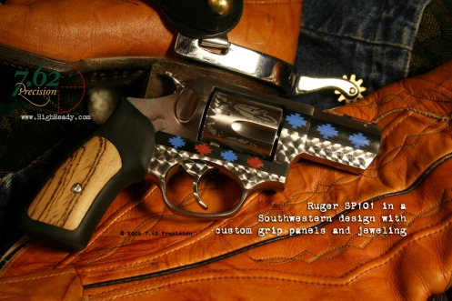 Ruger SP101 .357 Magnum Revolver with southwest art theme, custom grip inserts, and HiViz fiber-optic sight.