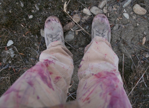 These are the same boots after stalking a caribou herd for 4 hours on my belly. The stains are not blood, but juice from the blueberry patches I crawled through.