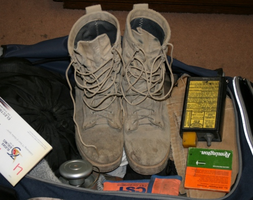 Wellco boots after a remote explosives engineering job and fighting a tundra fire.