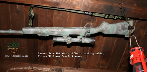 Parker Hale bear rifle hanging in a hunting cabin in Prince Williams Sound