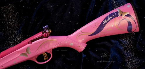 Pink Savage Rascal Rifle purple ribbon with name and butterflies.