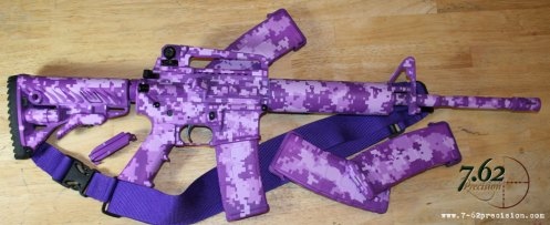 S&W M&P M4 Carbine in purple digital camo & custom purple three-point sling