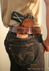 Front Line HIWB holster outside a t-shirt.