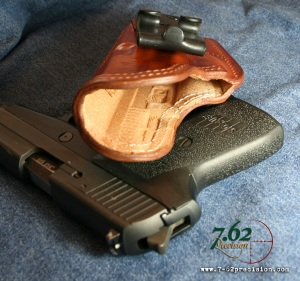 Standard leather HIWB holster.