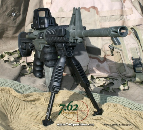 The Mako Group/FAB Defense FGR-3 Handguards allow the mounting of accessories such as this T-Pod vertical grip bipod without the weight, bulk, and unneeded rail space of more expensive rail systems.