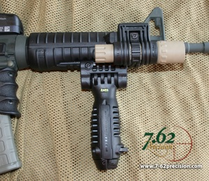 FGR-3 Handguards with SureFire G2 mounted in a PLS-1 mount and a T-POD Foregrip Bipod.