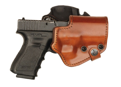 Front Line Three-Layer Holster made from laminated leather, Kydex®, and suede. These holsters offer the classic looks of fine leather with the durability and combat-effectiveness of Kydex®.