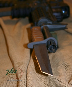 Business end of the Ontario 1FTS Tanto Bayonet with its wicked gear-piercing blade design.