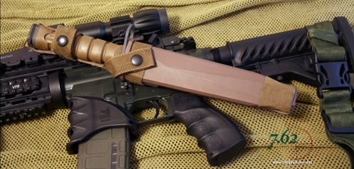 Dark Earth 1FTS Tanto Bayonet in MOLLE scabbard.