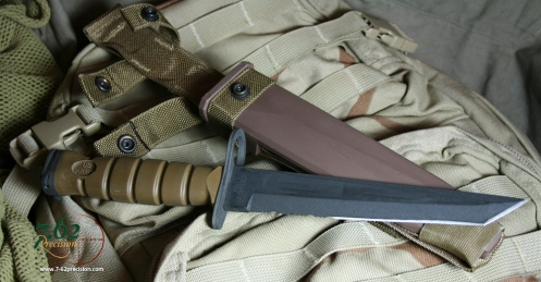 Bayonet and MOLLE scabbard feature a dark earth colour scheme.