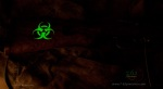 Biohazard symbol glows in the dark.