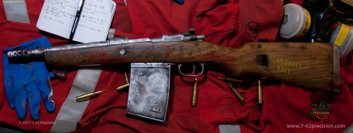Zombie Killer Yugo Mauser SBR with trench magazine and flash enhancer to incerate brain matter spray