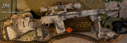 Springfield Armory M1A National Match Rifle with optic and accessories in Rommel's pattern.