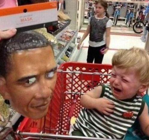 Obama Mask Scares Child