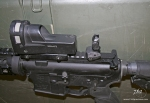 FAB Defense RBS mounted behind Mepro M21 reflex sight