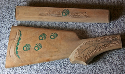 Final shaping, carving, and sanding in progress on the Marlin's stock and forend.