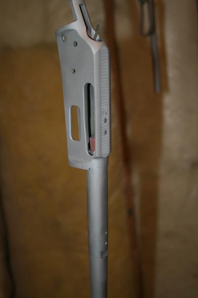 Barreled receiver prepped for coating.