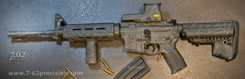 Grey Spider Web AR-15 Rifle with EOTech Sight.