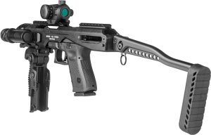 The Gen 1 KPOS uses a charging handle attached to the pistol's slide.