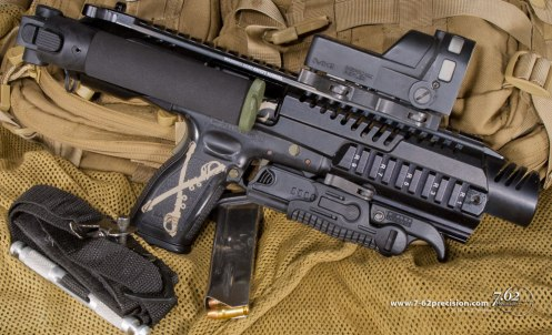 The Pathfinder KPOS does not have a stock, so it does not require registration as an SBR. The foregrip safety on this KPOS has been rebuilt to remain permanently folded, so it cannot be configured as a foregrip.