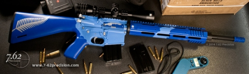 Two-Tone blue AR with silver fern New Zealand theme. Click here for more photos.