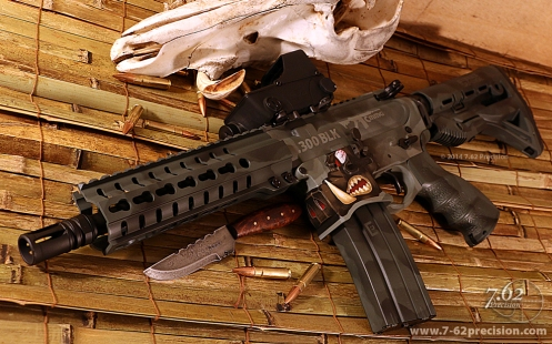 .300 BLK CMMG SBR on Warthog Lower. Grey camouflage with detailed hog. Click here for more detailed photos.