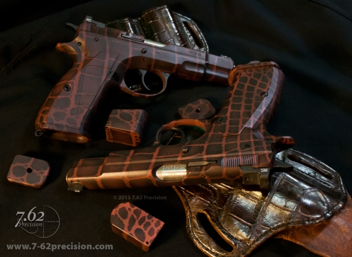CZ-75 Pistols in Brown Aligator Skin DuraCoat. Aluminum Grips and Aligator Holsters. Click for more photos.