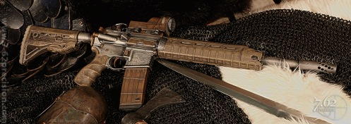 .50 Beowulf Rifle in Viking Theme.